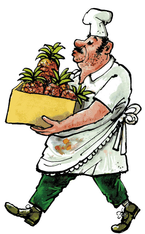 Cook. With soiled clothing carrying a box with pineapple royalty free illustration