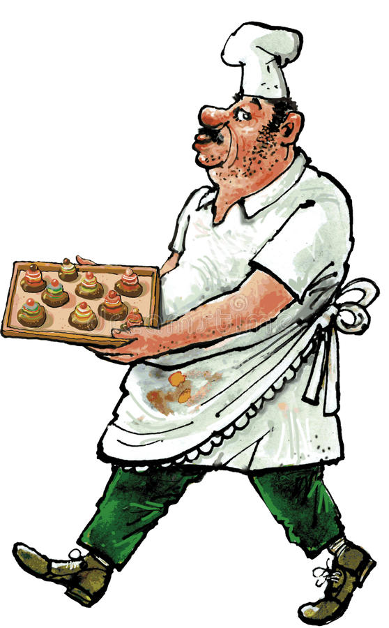 Cook. With soiled clothing carrying a plate pastries royalty free illustration