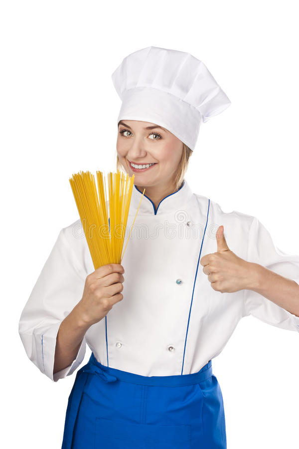 Cook With Spaghetti In Hands On White Background Stock Photo