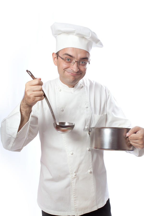 Download Cook with spoon and pot stock image. Image of young, points - 23361205