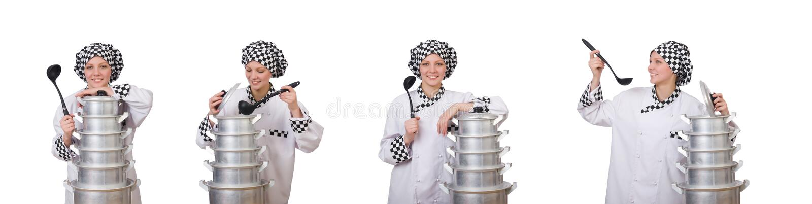 Cook with stack of pots on white royalty free stock photo