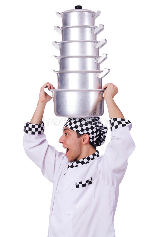 Download Cook with stack of pots stock image. Image of cute, background - 31753223