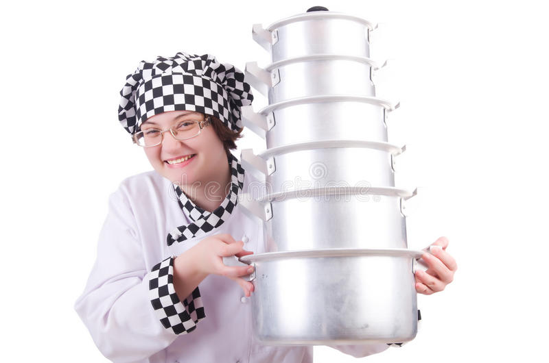 Download Cook with stack of pots stock photo. Image of ladle, background - 31753432