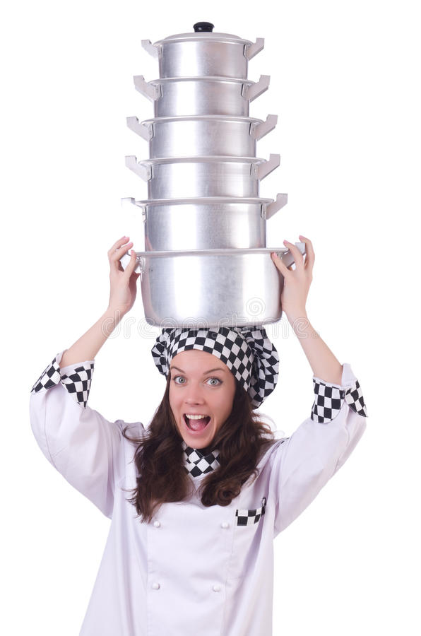Cook with stack of pots