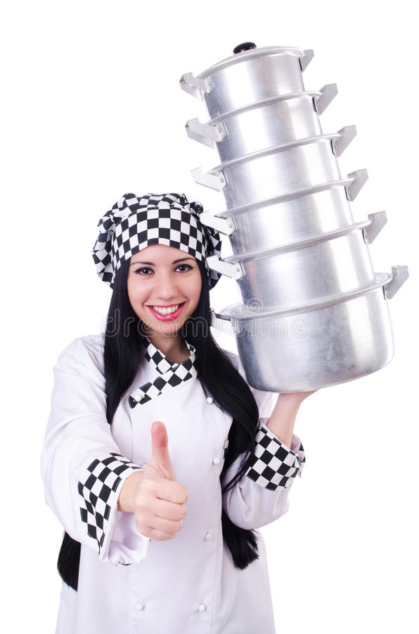 Download Cook with stack of pots stock photo. Image of humourous - 32923462