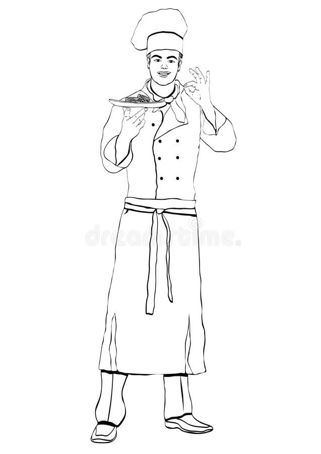 Cook standing front side, coloring, vector outline portrait male chef full-length, black and white painted human in a chef s form,. Cook standing front side royalty free illustration