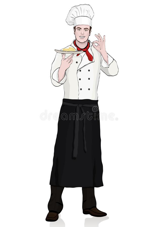 Cook standing front side, vector cartoon portrait male chef full-length, multicolor painted young human in a chef s form, toque, i. N an apron, with a dish in stock illustration