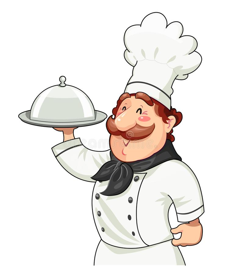 Cook with tray for food and lid royalty free illustration
