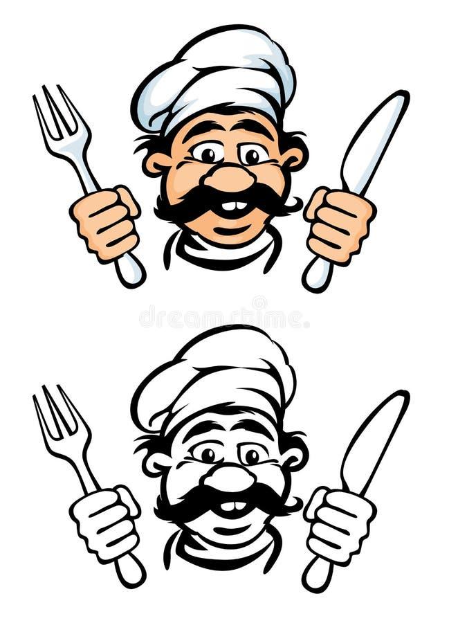 cook twarzy widelce nóż ilustracji