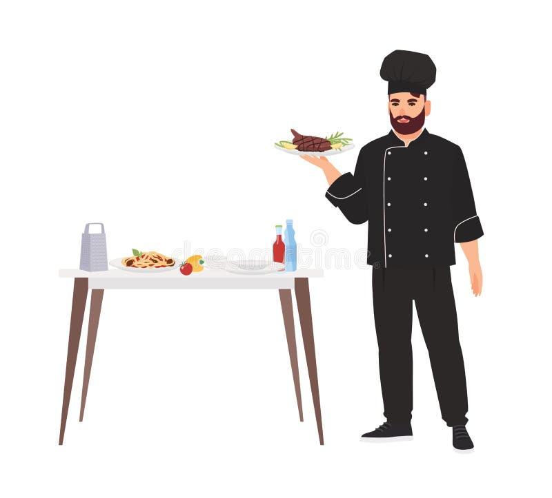 Cook ubierał w jednolitym mienie talerzu z wyśmienicie wyśmienitym posiłkiem odizolowywającym na białym tle Szef kuchni porcja i  royalty ilustracja