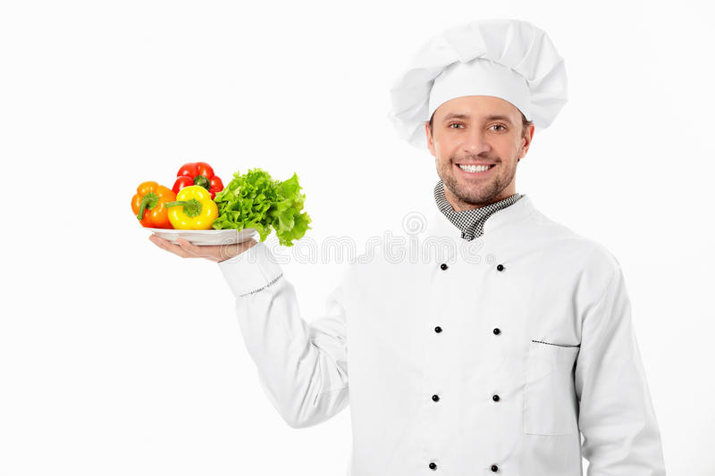 The cook with vegetables