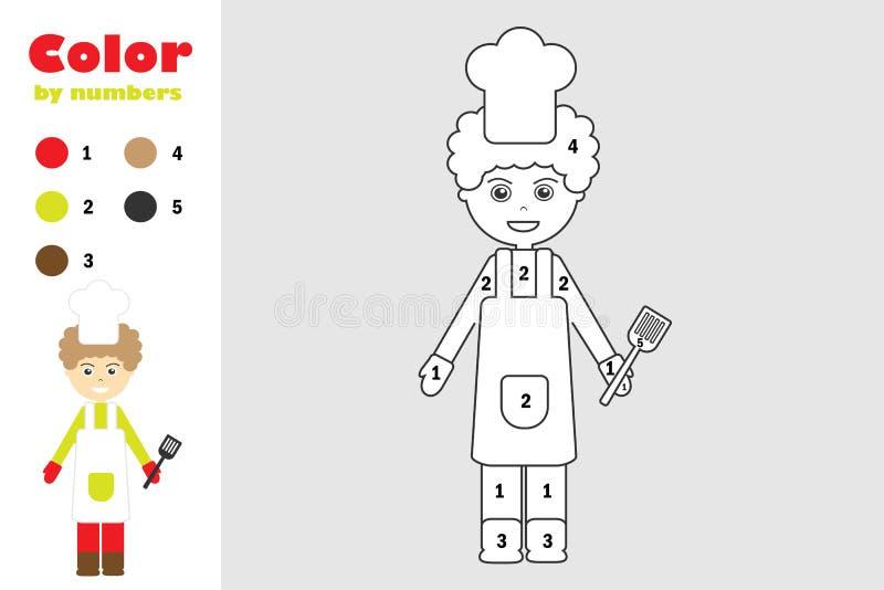 Cook w kreskówka stylu, kolor liczbą, edukacji papierowa gra dla rozwoju dzieci, barwi stronę, dzieciaki ilustracja wektor