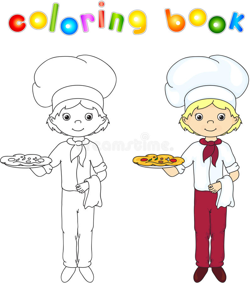 Cook or waiter in his uniform with cake and pizza. Coloring book royalty free illustration