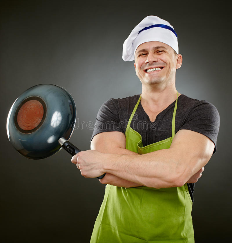 Download Cook with wok stock photo. Image of girl, gray, male - 37958254