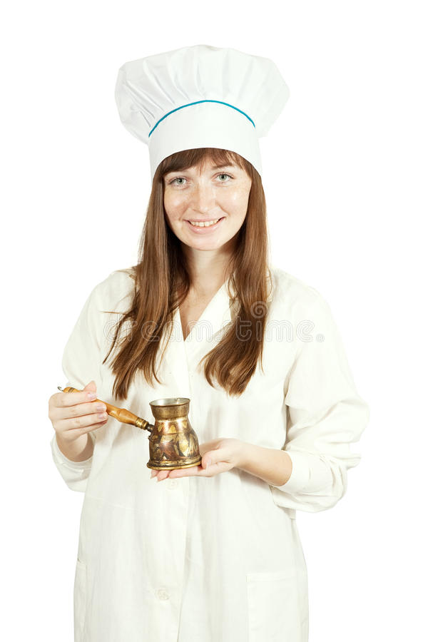 Download Cook woman  with  cezve stock photo. Image of professional - 14862268