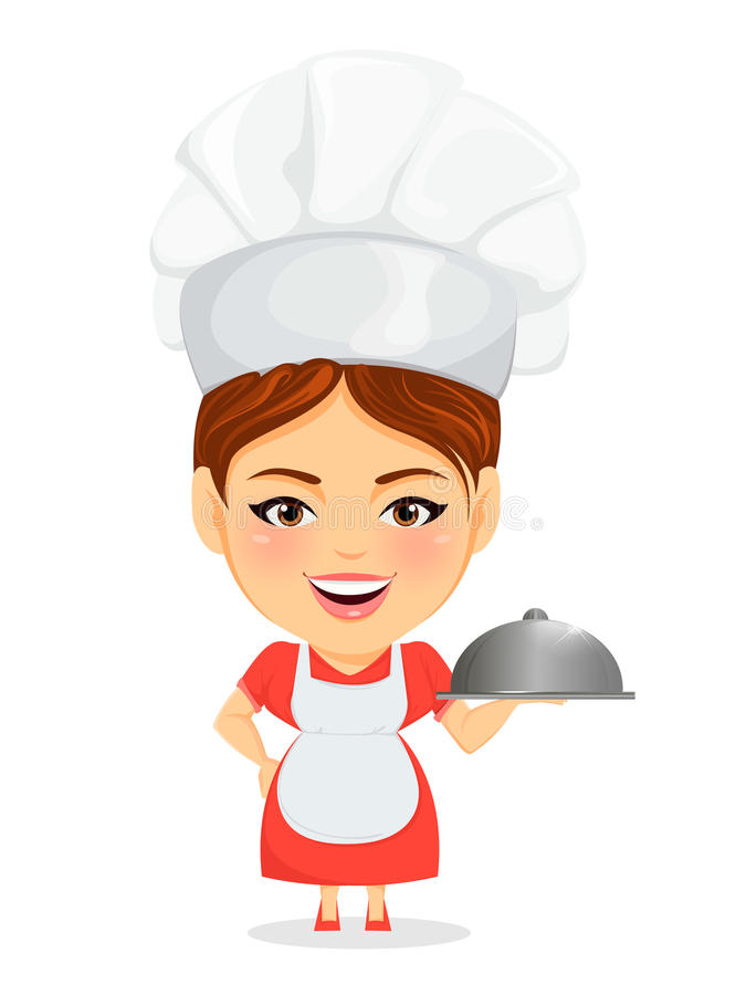 Cook woman, female master chef. Funny cartoon character with big head holding restaurant cloche. royalty free illustration