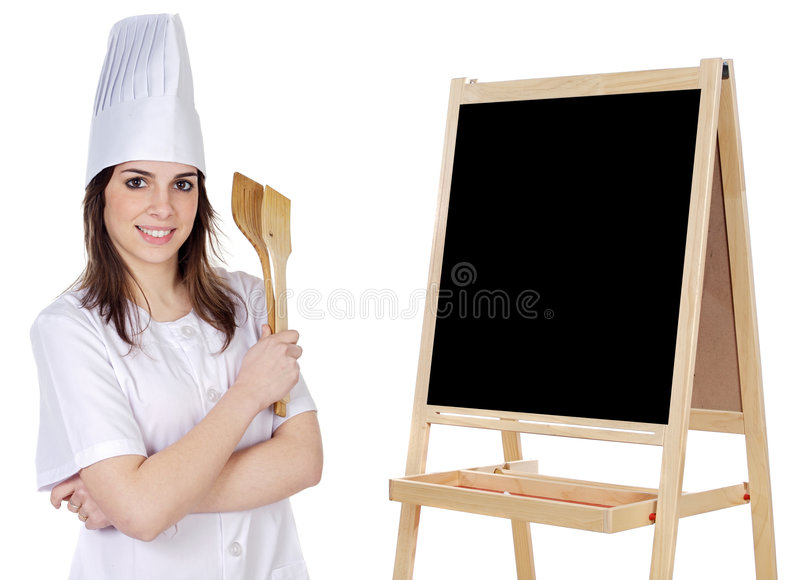 Cook woman whit slate. Write your text royalty free stock images