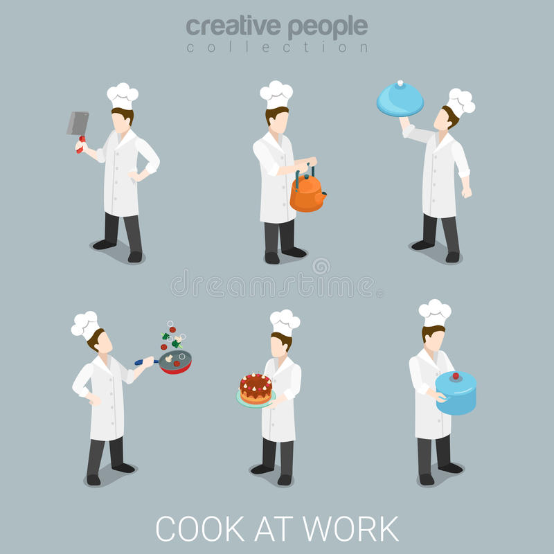 Cook work chief cooking uniform tools flat 3d isometric vector royalty free illustration
