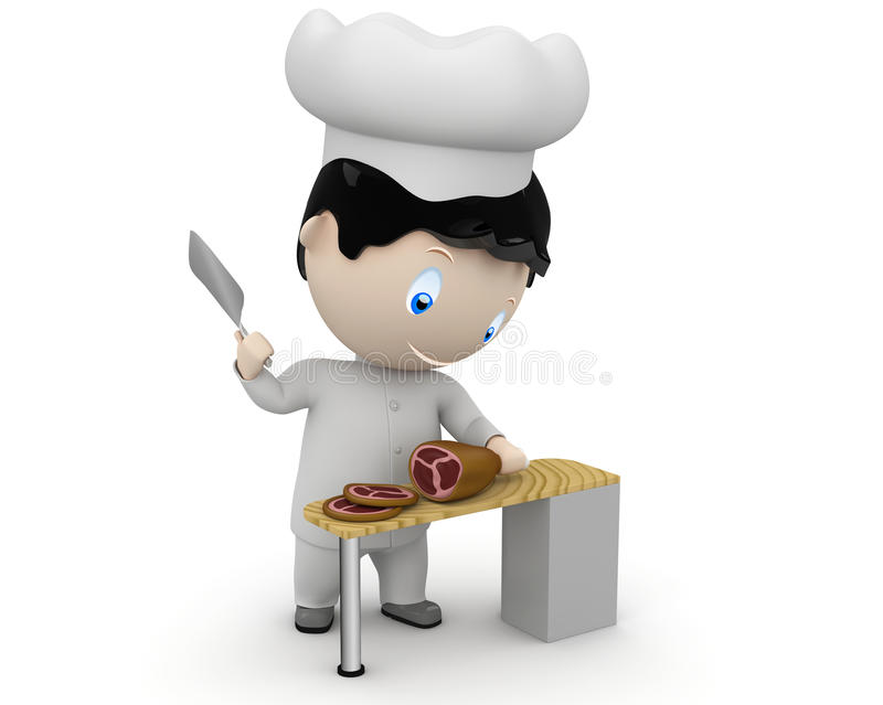 Cook at work! Social 3D characters vector illustration
