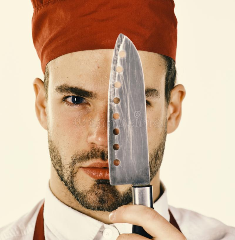 Cook works in kitchen. Kitchenware and cooking concept. stock image
