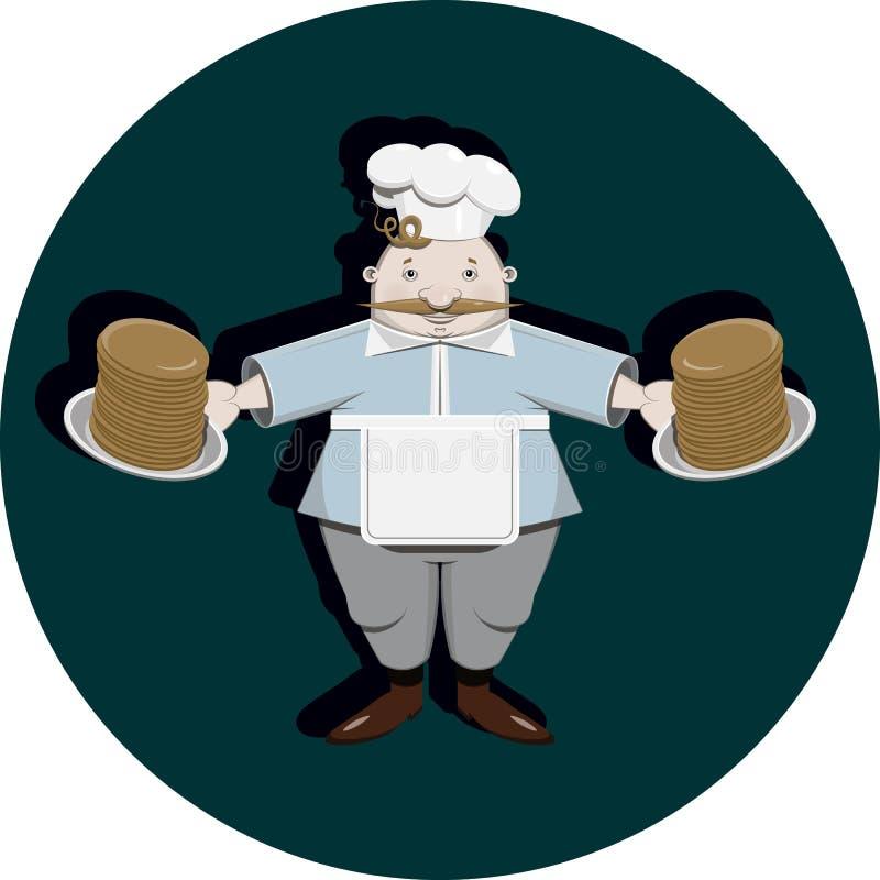 Cook z blinami ilustracji