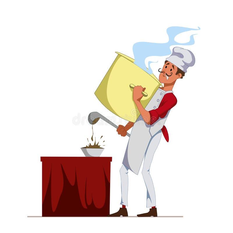 Cook z niecką nalewał polewkę w półkową używa kopyść Szef kuchni przy restauracją Usługowy personel Wektor, ilustracja ilustracji