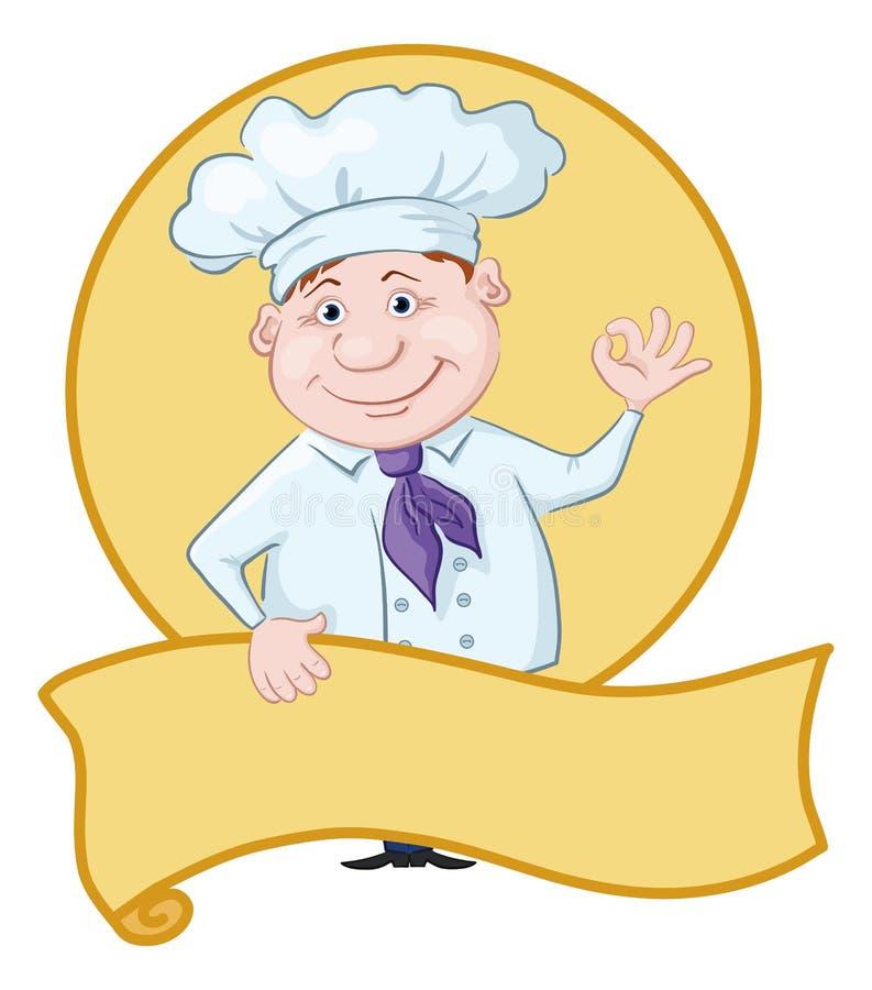 Cook z plakatem ilustracji