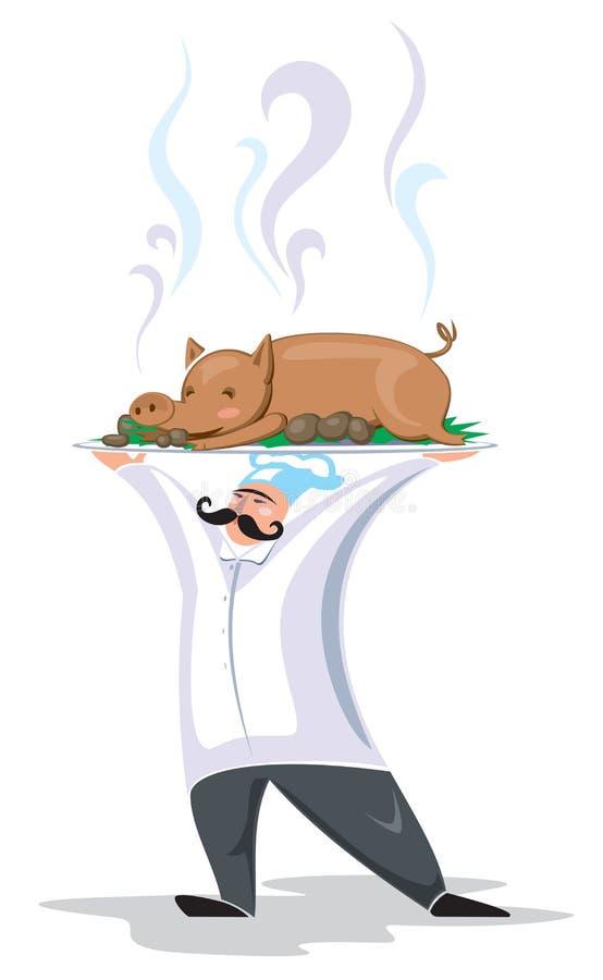 Cook z wieprzowiną ilustracja wektor