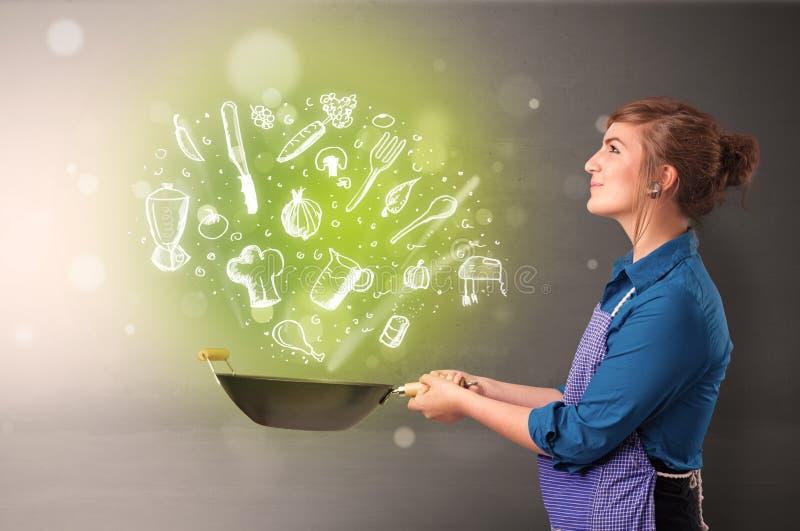 Cook z zielonymi doodle warzywami zdjęcia stock