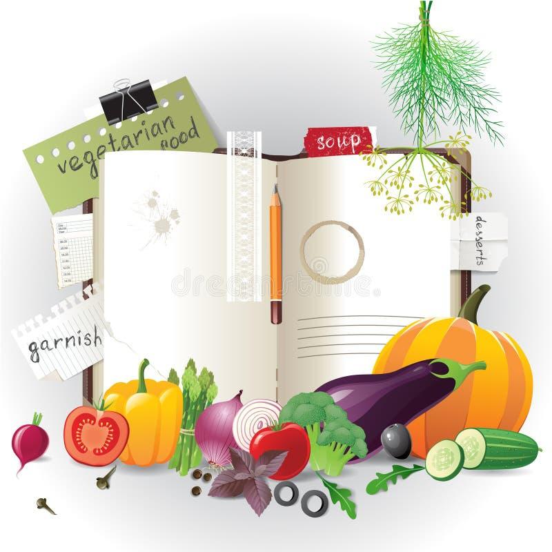 Cookbook. Highly detailed open cookbook with vegetables stock illustration