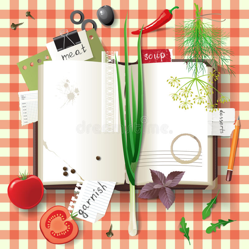 Cookbook. Highly detailed open cookbook with herbs and vegetables vector illustration