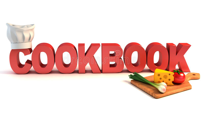 Cookbook 3d concept. On white royalty free illustration