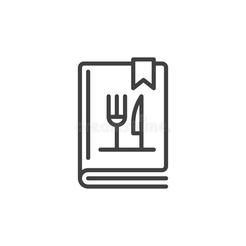 Cookbook or cookery book line icon. Outline vector sign, linear style pictogram isolated on white. Symbol, logo illustration. Editable stroke. Pixel perfect vector illustration