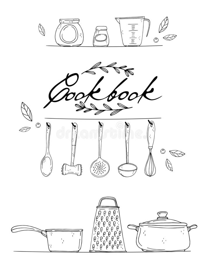 Cookbook cover with hand drawn kitchenware, spice and lettering on a white background. Vector black icons in sketch style. Hand drawn objects stock illustration