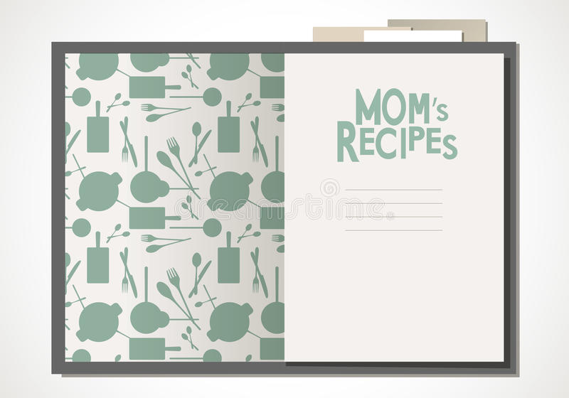 Cookbook with mom`s recipes. Wooden spoon and fork and bay leaves. Cookbook with mom`s recipes. Vector Illustration vector illustration