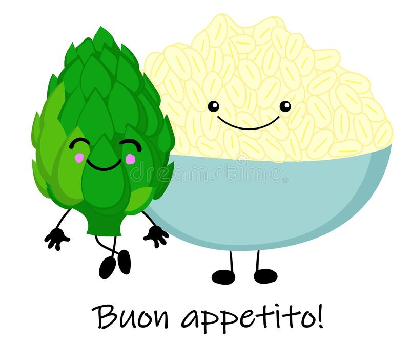 Cooked boiled rice with artichokes. National Italian food. Vector illustration stock illustration