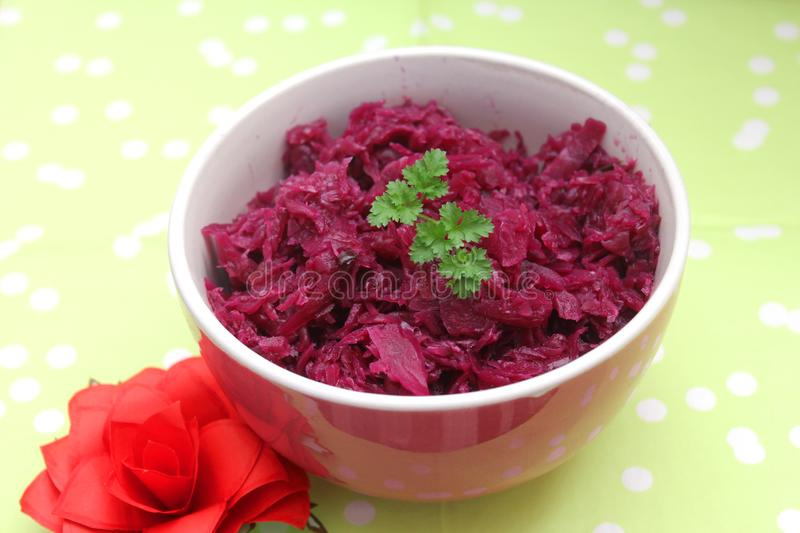 Cooked Cabbage. Some cooked red cabbage in a bowl royalty free stock image