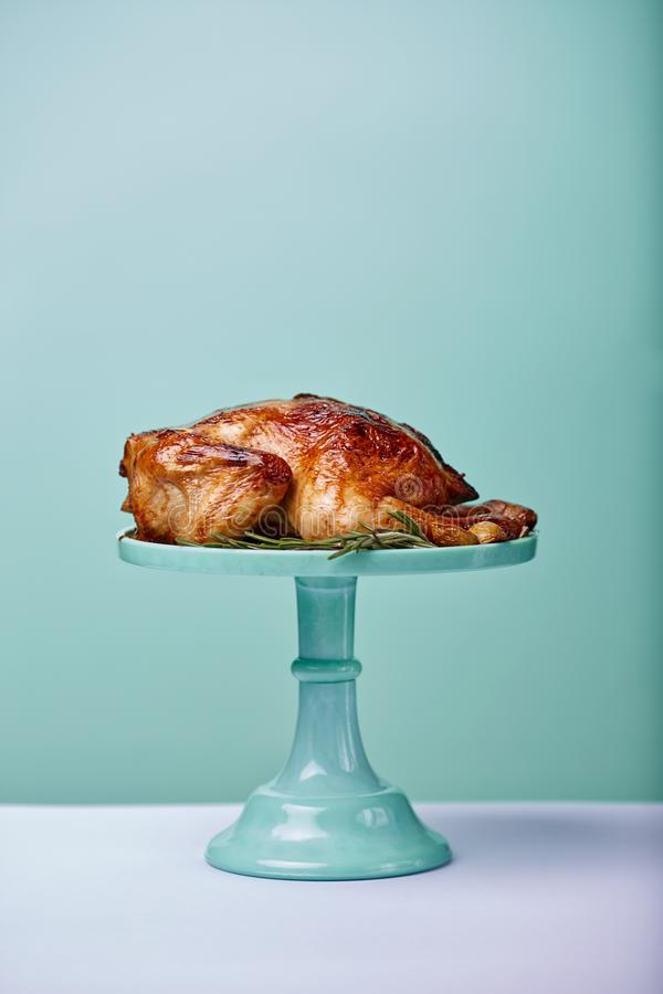 Cooked chickenin a tray. Cooked chicken on a blue tray on cyan background stock photography