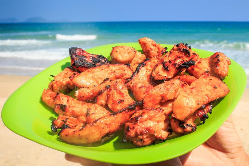 Cooked Chicken Wings on Green Plate against Azure Sea on Beach. Closeup cooked chicken wings on green plate in hands of person against azure sea surf on beach royalty free stock image