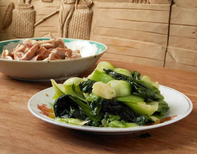 Cooked Chinese vegetable bok choy royalty free stock photography