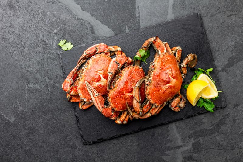 Cooked whole crabs on black plate served with white wine, black slate background, top view. Cooked crabs on black plate served with white wine, black slate stock photography