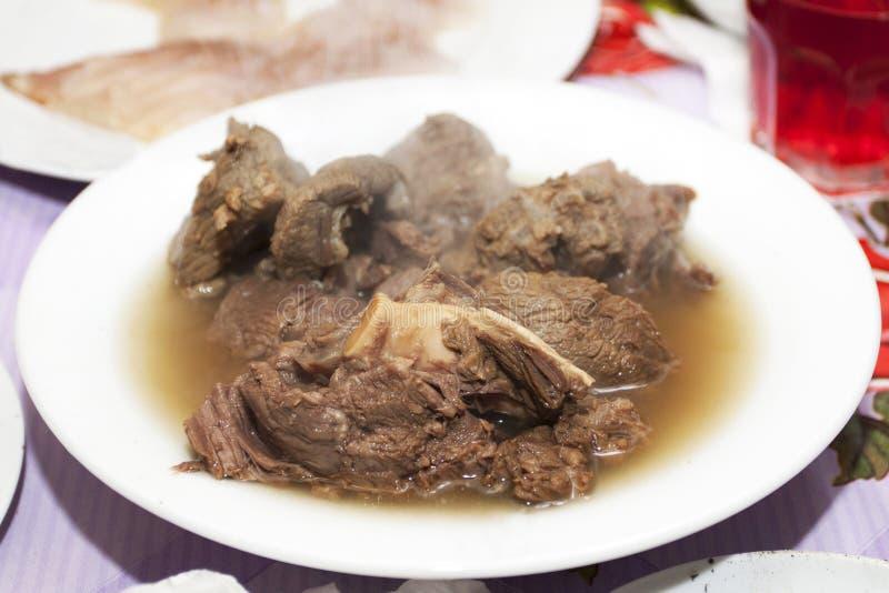 Cooked deer meat. Cuisines of Yamal Peninsula - сooked deer meat royalty free stock image