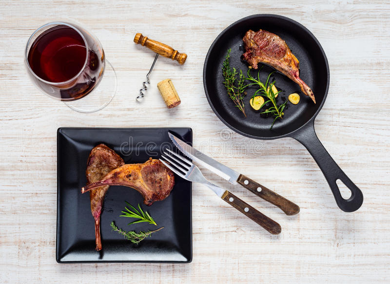 Cooked Dinner Lamb Chops royalty free stock images
