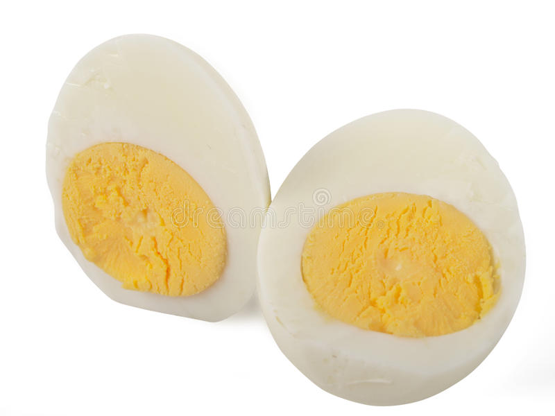 Cooked egg. Isolated on white background royalty free stock image