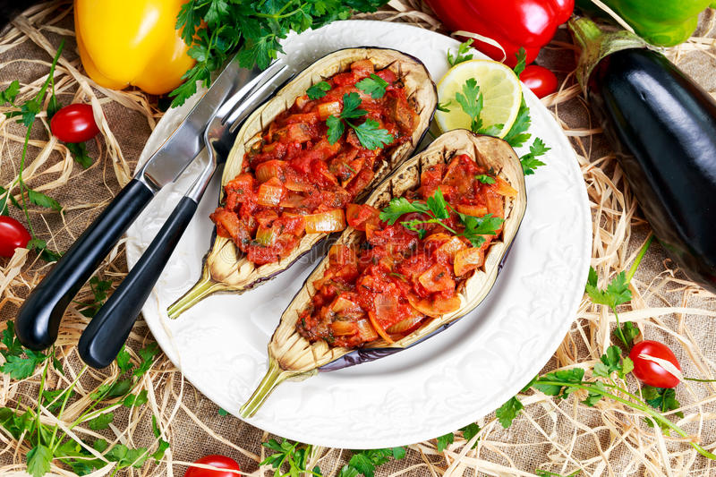 Cooked Eggplant and stuffed with vegetables stock photos