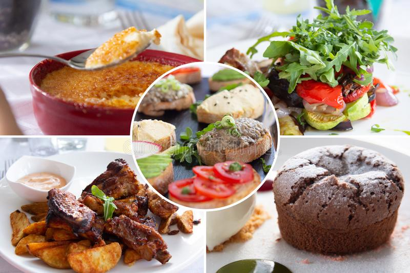 Food collage. Cooked food collage with European cuisine closeup on a dining table stock photos