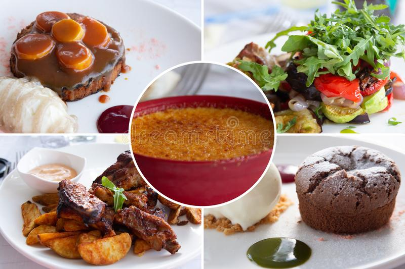 Food collage. Cooked food collage with European cuisine closeup on a dining table stock images
