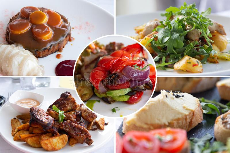 Food collage. Cooked food collage with European cuisine closeup on a dining table royalty free stock photo