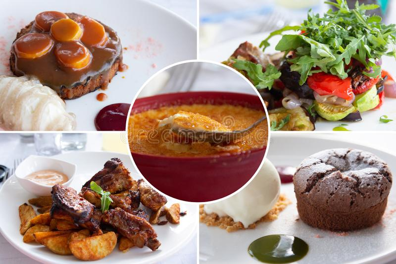 Food collage. Cooked food collage with European cuisine closeup on a dining table stock photography