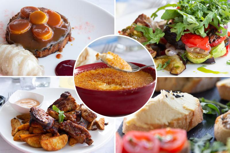 Food collage. Cooked food collage with European cuisine closeup on a dining table royalty free stock image